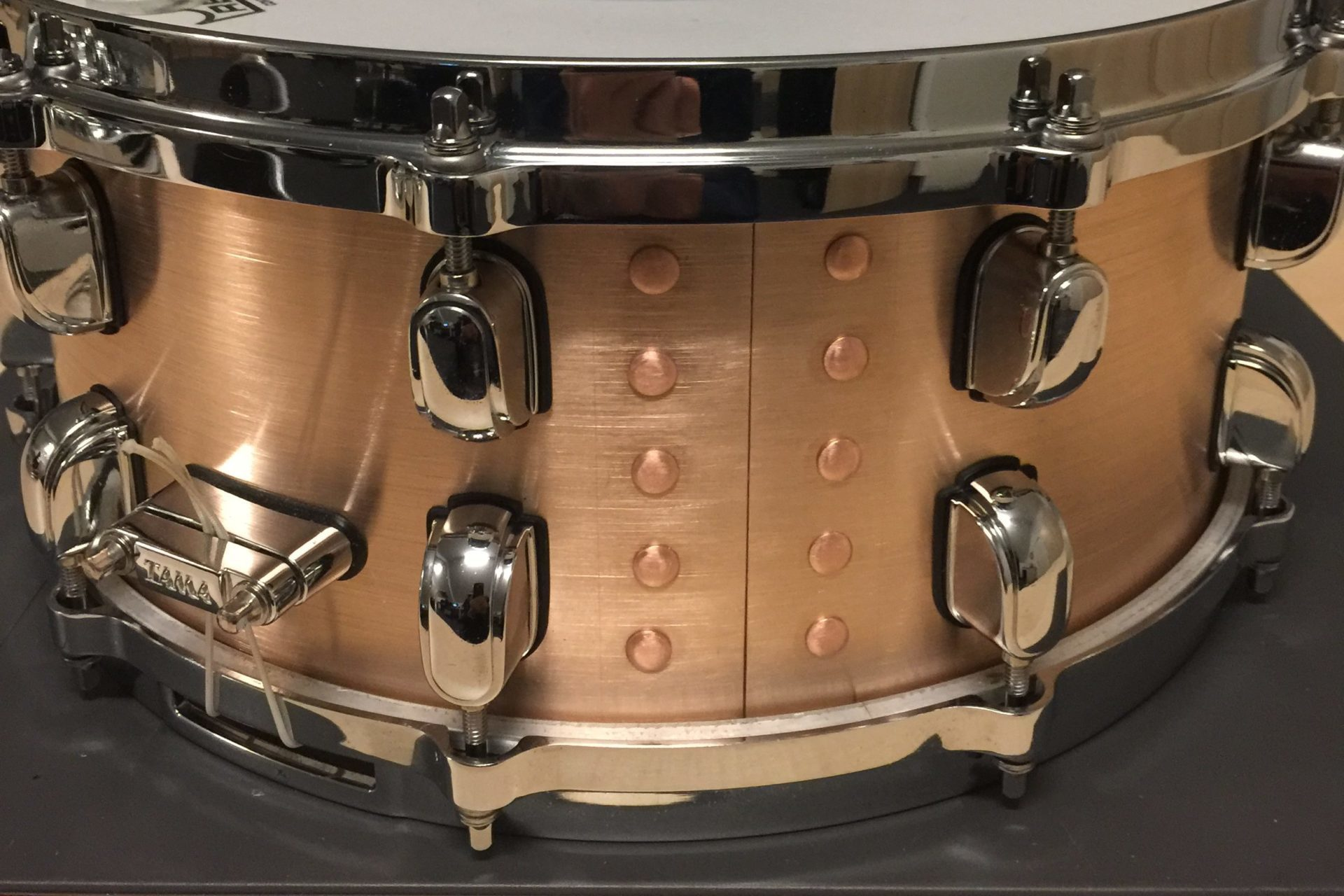 Bronze snare Natural Color during Fabrication
